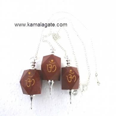 Red Jasper Hexagon Om Engraved  Pendulum (SILVER)