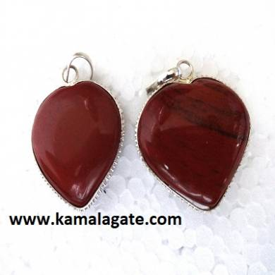 Red Jasper Small Puffy Hearts Frame pendants