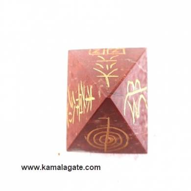 Red Jasper Engraved Reiki pyramid