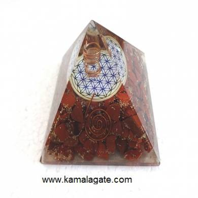 Red Jasper Orgone Pyramid With Flower Of Life