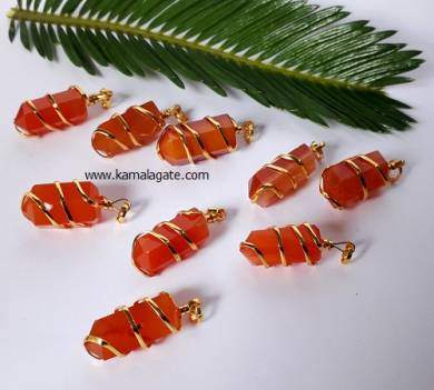 Red Carnelian Golden Coil Wrap Pendants