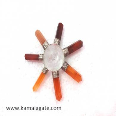 Red Cardelian & Crystal Quartz Combination Energy Generators