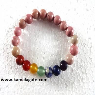 Rhodocrosite Plain Elastic Chakra Bracelets