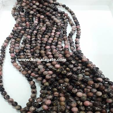 Rhodonite 8 mm Loose Beads For Jewelry Making