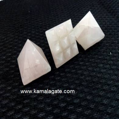 Rose Quartz 9 Pyramid Plate