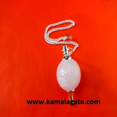Rose Quartz Ball Pendulum (Silver)