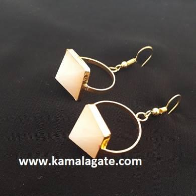 Rose Quartz Crystal Pyramids Earring Set