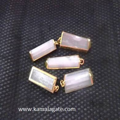 Electroplated Rose Quartz Pendents