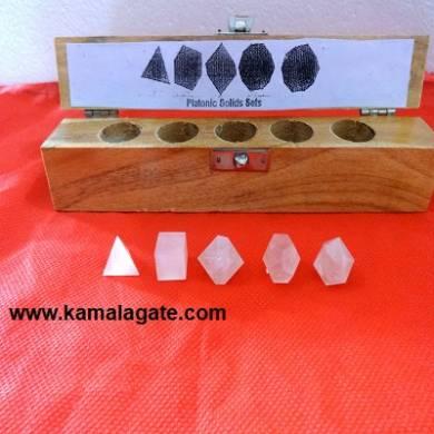 Rose Quartz Five Pieces Geometry Sets With Wooden Box