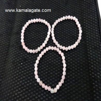 Rose Quartz Gemstone Beads Elastic Bracelets