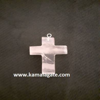 Rose Quartz Gemstone Cross Pendant