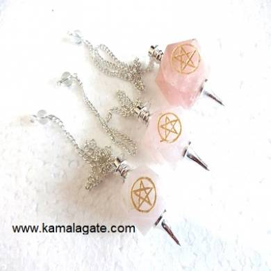 Rose Quartz Pentagram pendulums