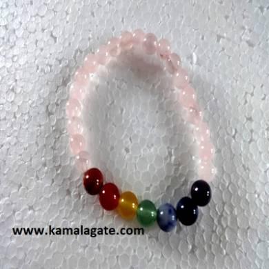 Rose Quartz Plain Elastic Chakra Bracelets
