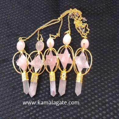 Rose Quartz Markaba Spinning Pendulums( GOLDEN)