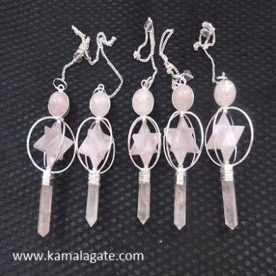 Rose Quartz Spinning Pendulum Star (SILVER)