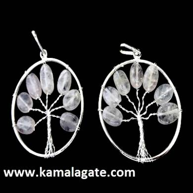 Rose Quartz Tree Of Life Pendant (silver)