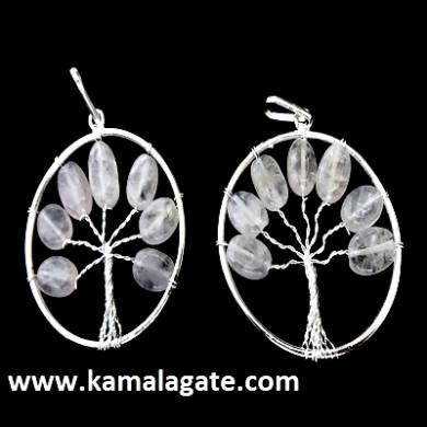 Rose Quartz Tree Of Life Pendant (silver)