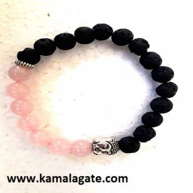 Rose Quartz With Lava Stone Bhuddha Bracelets