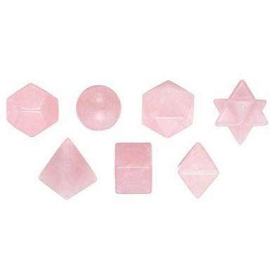 Rose quartz 7Pcs Geometry Healing Set