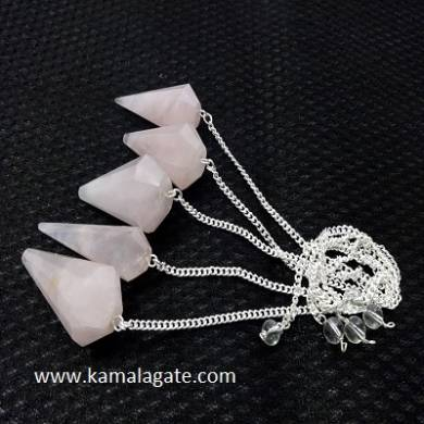Rose Quartz Faceted Pendulums