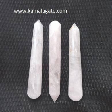 Rose Quartz Faceted Massage Wands