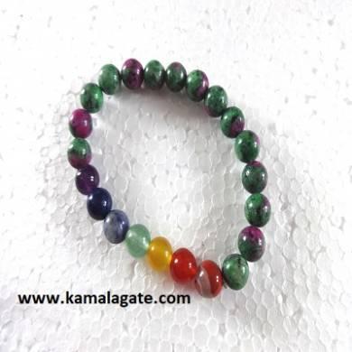 Ruby Fluside Plain Elastic Chakra Bracelets