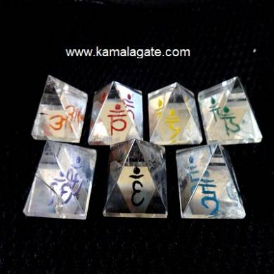 Crystal Quartz Colorful Pyramids Sanskrit Sets