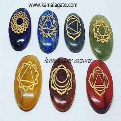 Seven Chakra Tumble Palm Stone Engraved Chakra Healing Set