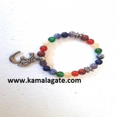 Gemstone Seven Chakra Om Symbol Bracelets