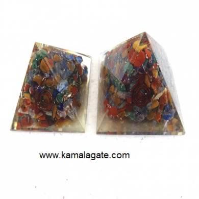 Seven Chakra Orgone Chips Stone Pyramid (Small)