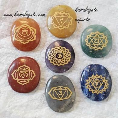 Seven Chakra Engraved Sanskrit Chakra gold plated set