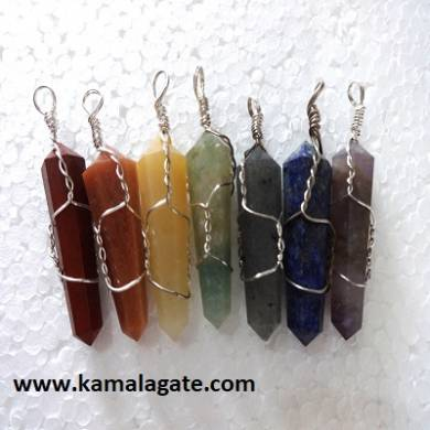 Seven Chakra Set with Wire Wrap Pendants