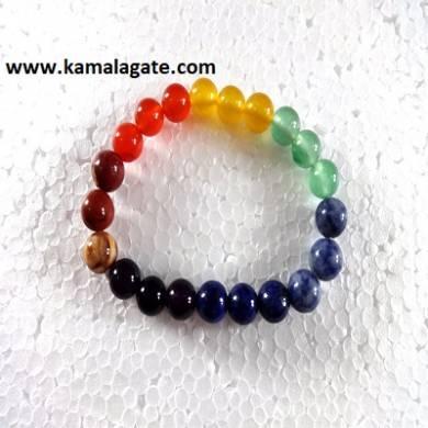 Seven Chakra Plain Elastic Chakra Bracelets