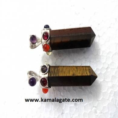 Seven Chakra stone embedded on Tiger Eye pencil pendants