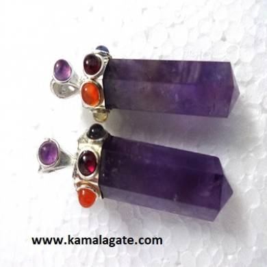 Seven Chakra stone embedded on Amethyst pencil pendants