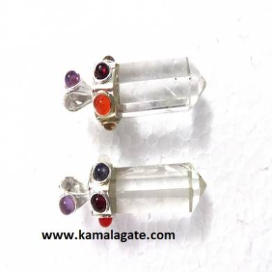 Seven Chakra stone embedded on Crystal Quartz pencil pendants