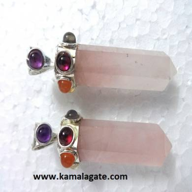 Seven Chakra stone embedded on Rose Quartz pencil pendants