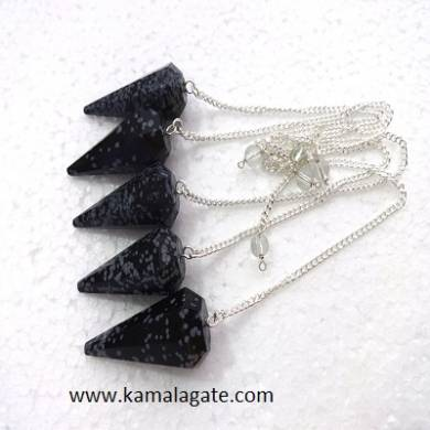 Snow Flake Obsidean Faceted pendulums