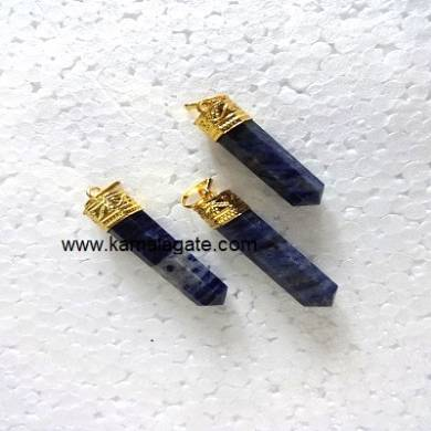 Sodalite Pencile Golden Pendent