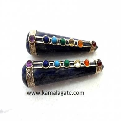 Sodalite Seven Chakra Feceted Healing Wands