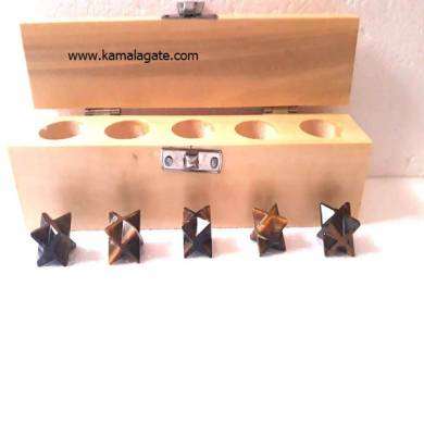 Tiger Eye Merkaba Star Five Pcs Geometry Sets With Wooden Box