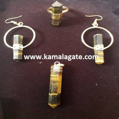 Tiger Eye Pencil Point Pendent Sets In Golden