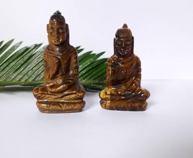 Tiger Eye Gemstone Carved Buddha