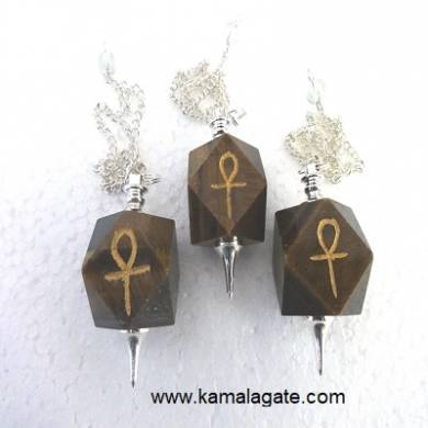 Tiger Eye Hexagon Ankh Pendulum(SILVER)