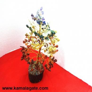 Tree 7 Chakra Gemstone Layer With Golden Metal Works