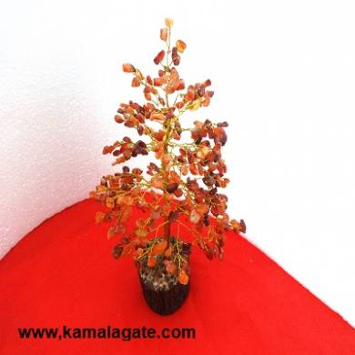 Tree Red Carnelian With Golden Metal Works