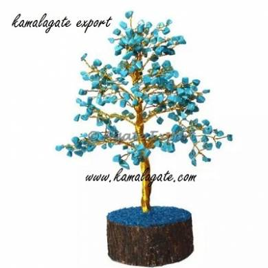 Turquoise Gemstone chips tree with thick Metal roots