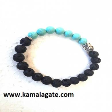 Turquoise With Lava Stone Bhuddha Bracelets