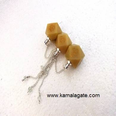Yellow Aventurine Hexagon Om Engraved Pendulum (SILVER)