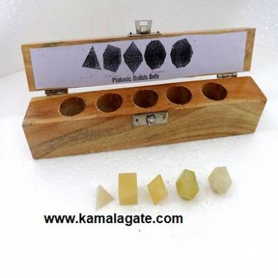 Yellow Aventurine Five Pieces Geometry Sets With Wooden Box